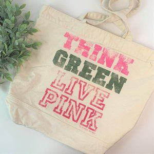 PINK Large Canvas Reusable Carry All Tote Bag Tan